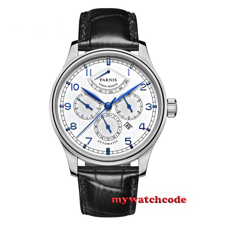 42mm parnis white dial blue power reserve miyota 9100 Automatic mens Watch P584B цена