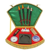 Chinese Calligraphy Set With Writing Pen Brushes Ink Inkstone Stamp Tool Box Set Painting Brushes Set