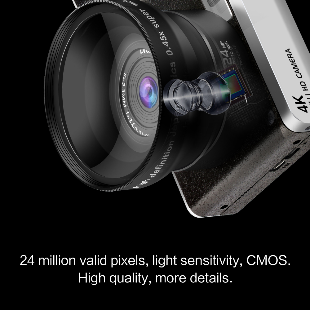 Digital Camera Home 24 Million Pixel Wide Angle HD IPS 4.0 inch Touch Screen DSLR multiple languages Camera image