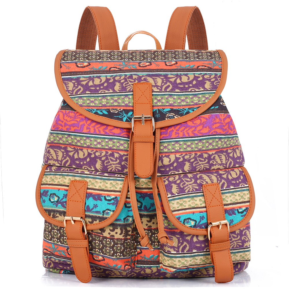 sansarya new 2017 school bag bohemian vintage women backpack drawstring printing canvas bagpack. Black Bedroom Furniture Sets. Home Design Ideas
