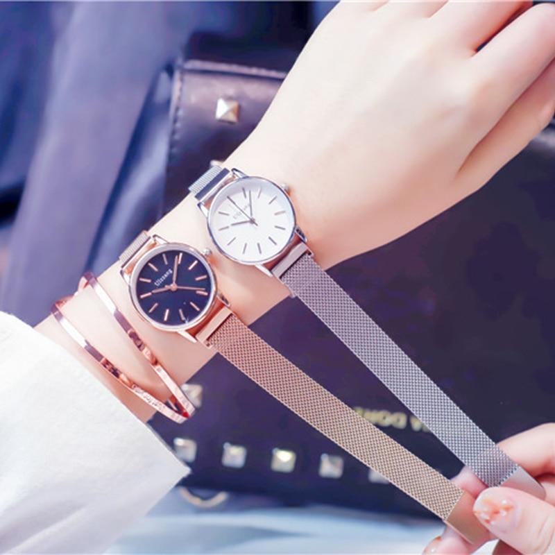Relogio Feminino Luxury Rose Gold Women Watches Ladies Quartz Magnet Buckle Wristwatches 28mm Small Mesh Waterproof Female Clock