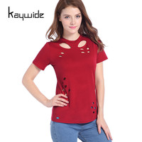 Kaywide New Summer Hole Burnt Out Women T Shirt Short Sleeve Hollow Out Sexy Tops Ladies