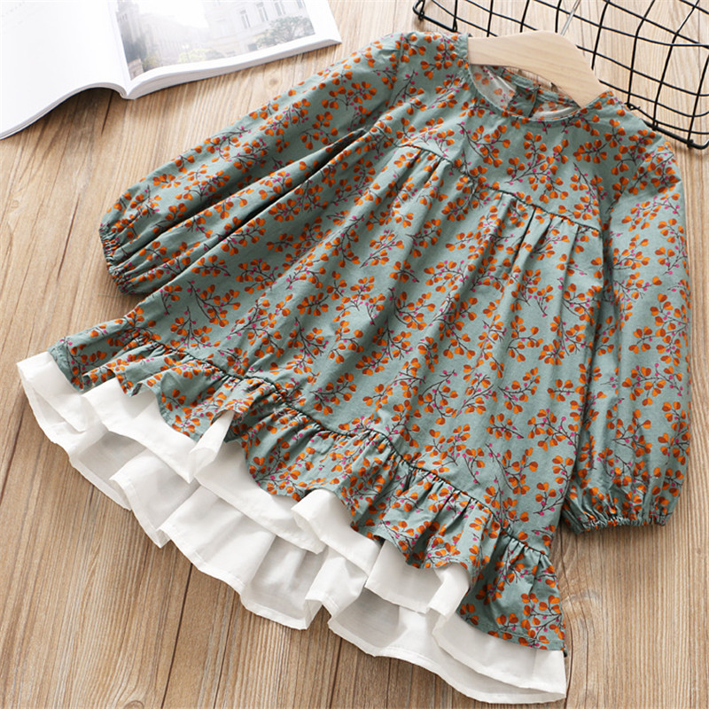 Hurave Baby Girl Printing O-neck Dress Clothes Children Long Sleeve clothing Kids Ruffles Casual cotton Dresses цены онлайн