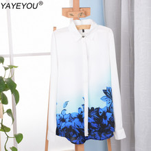 YAYEYOU Plus Size Work Wear Tops 2017 Women Blue Floral Long Sleeve Chiffon Shirt Blouse OL Ladies Feminine Office Blouses Blusa
