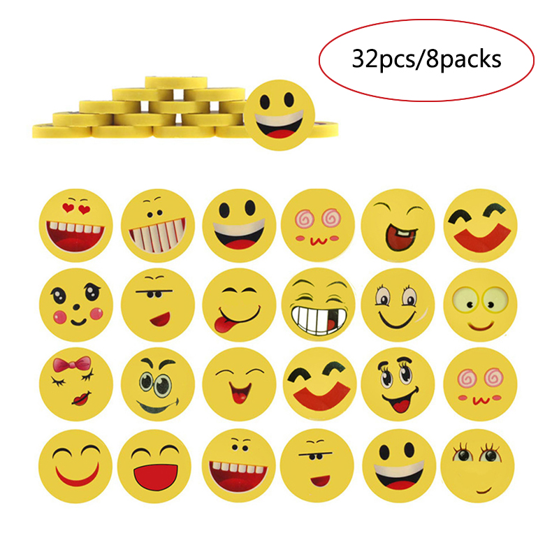 32pcs/lot Cartoon Smiley Face Eraser Creative Stationery Cute Emotions Rubber Erasers Gift For The Children