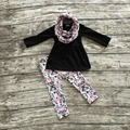 ROUPAS de inverno meninas do bebê 3 peças define com lenço do bebê meninas top preto com flor de ameixa conjuntos de calça meninas roupas flor de ameixa