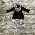 TRAJES de bebé de invierno niñas 3 unidades conjuntos con la bufanda de los bebés top negro con pantalón muchachas de los sistemas ropa flor del ciruelo del flor del ciruelo