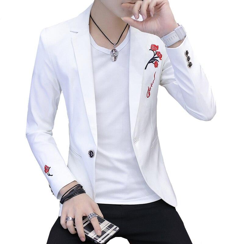 วัยรุ่นแจ็คเก็ต slim design men blazers 2019 สีขาวสีดำสีแดง blazer ผู้ชายเอเชียขนาด S M L XL XXL-ใน เสื้อเบลเซอร์ จาก เสื้อผ้าผู้ชาย บน   1