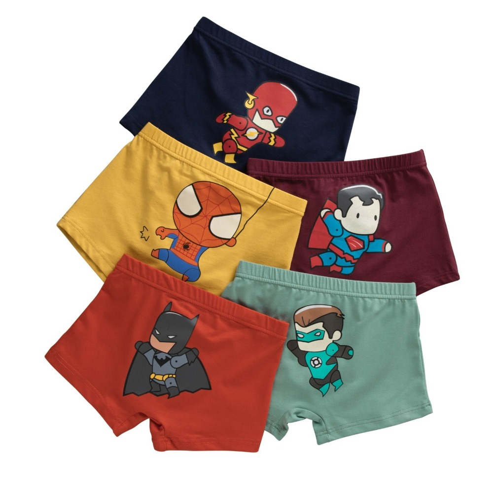 1 Piece 3-8 Years Old Kid Cotton Panties Spiderman Batman Figures Cartoon Printed Child Boys Comics Boxers Briefs Underwear