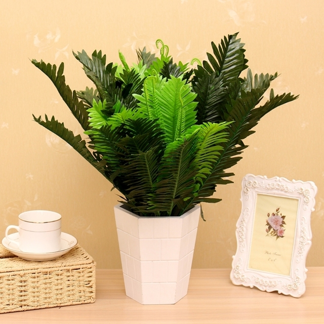 1 bunch 18 heads artificial silk plants cycas palm tree garden home