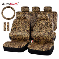 AUTOYOUTH Luxury Leopard Print Car Seat Cover Universal Fit Seat Belt Pads,and 15 Universal Steering Wheel Car Seat Protector