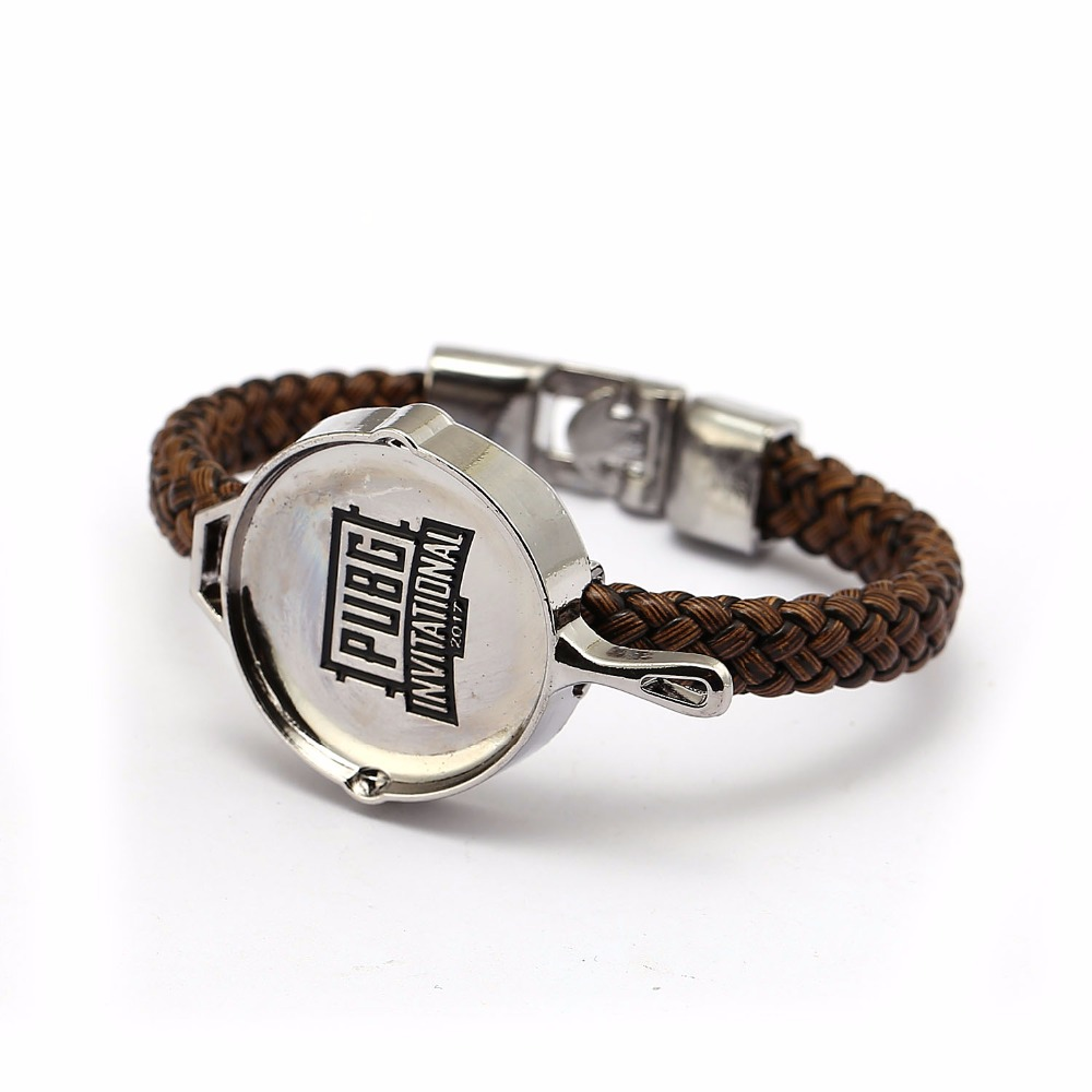 GWTS Playerunknowns Battlegrounds Bracelet Game PUBG Pan Model Leather Braided Bangle Men Wristband Bracelet Souvenir GWTS12605
