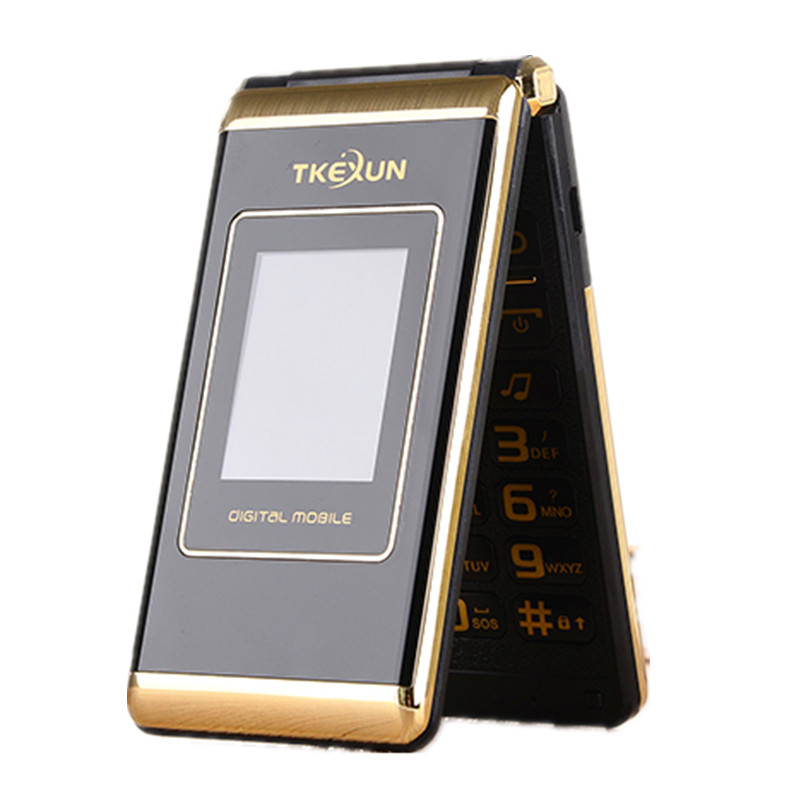 TKEXUN M1 Women Flip Phone With Double Dual Screen Dual Sim Camera MP3 MP4 Touch Screen Luxury Cell Phone