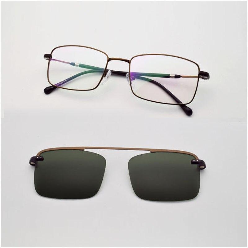 Cadre mince fil lunettes hommes carré aimants dorés polarisant lunettes de soleil Ultra-léger argent lunettes cadres rétro marron lunettes
