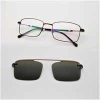 Thin Frame wire Glasses Men Square Golden Magnets Polarizing Sunglasses Ultra-light Silver Glasses Frames Retro Brown Glasses