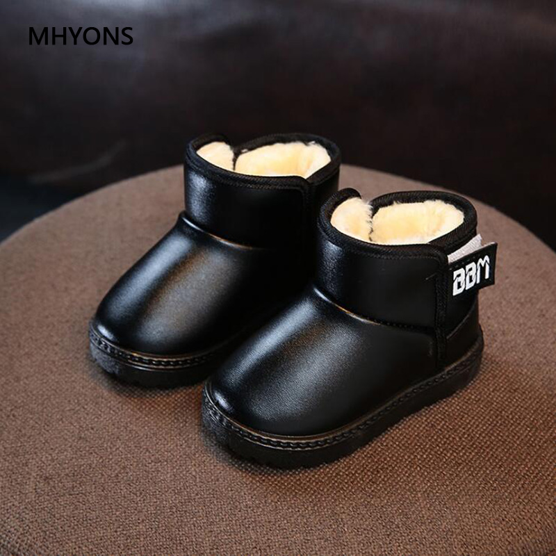 2019 New Children Shoes PU Leather Waterproof Martin Boots Kids Snow Boots Girls Boys Winter Warm Rubber Boots Fashion Sneakers title=
