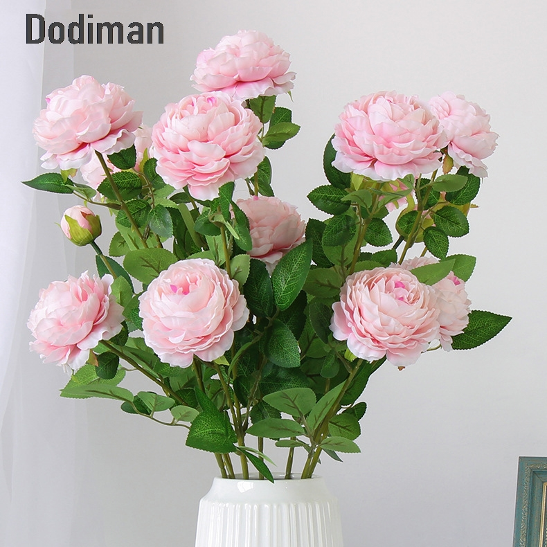 Black Leather Living Room Garden Rose And Peony: 66cm Long European Artificial Flower 3 Head Home Silk