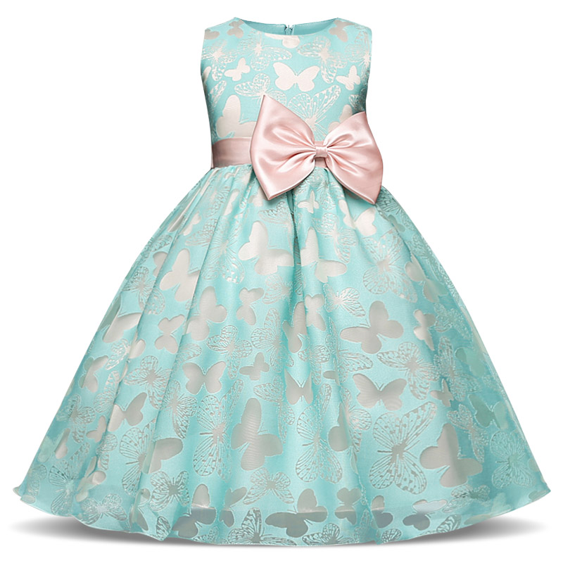 Butterlfy Shaped Girls Dress Ribbons Kids Summer Princess Party Dress Sleeveless Brand Children Prom Flormal Costumes for 4-10 new girls dress brand summer clothes ice cream print costumes sleeveless kids clothing cute children vest dress princess dress
