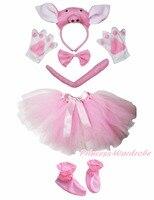 3D Varken Hoofdband Bowtie Staart Handschoenen Schoenen Roze Tutu 6 st Meisje Kostuum Party