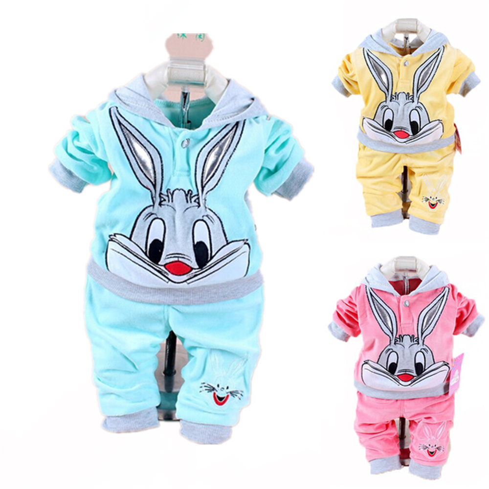 New Spring 2pcs Baby Clothing Sets Baby Boys and Girls Rabbit Velvet Sets Hooded Coat + Pant Toddler Infants Clothes Costume 2017 new children clothing sets baby girls boys winter warm clothes 2pcs cute panda velvet christmas outfits suit shirt pant