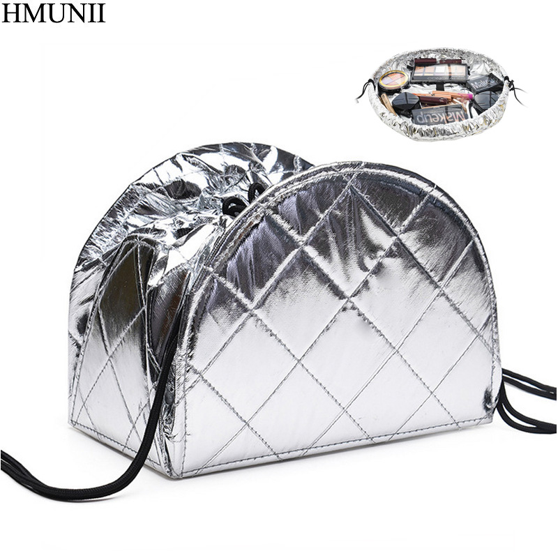 HMUNII New Creative Lazy Cosmetic Bag Large Capacity Portable Drawstring Storage Artifact Magic Travel Pouch Simple Makeup Bags