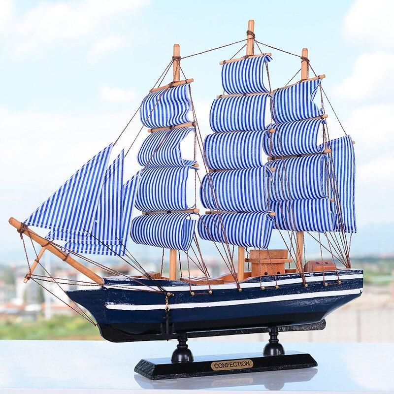 Large Mediterrean Style Wooden Figurine Pirate Ship Model Miniature Marine Wood Craft Sailingboat Nautical Decor Home Crafts