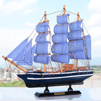 Large Mediterrean Style Wooden Figurine  Pirate Ship Model Miniature Marine Wood Craft Sailingboat Nautical Decor Home Crafts