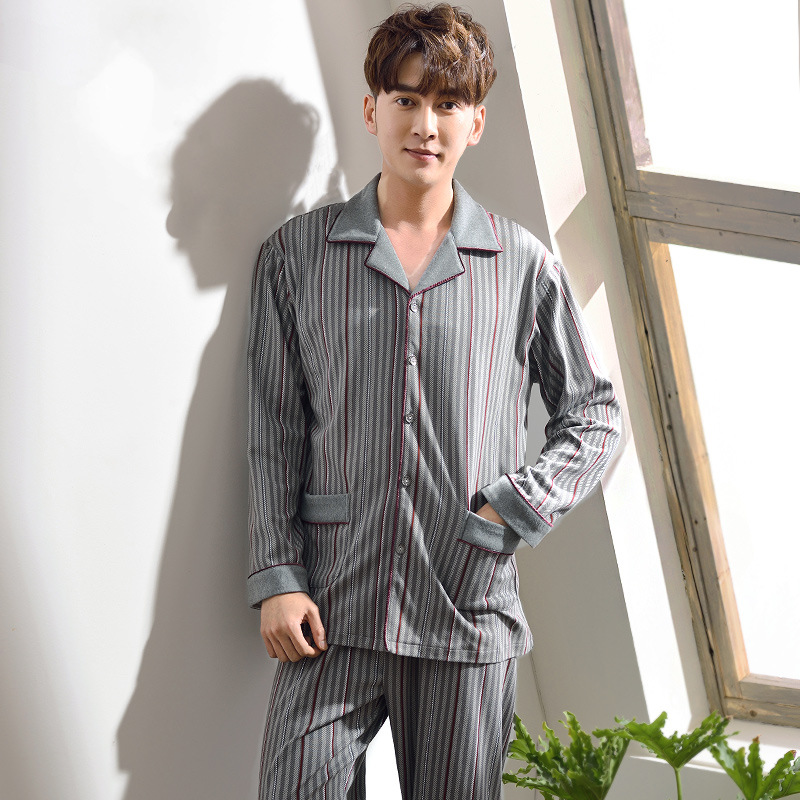 J&Q New Pajamas Male Notch Collar Cotton Pajamas Homewear Men's Home Suits Nighties Bottoms & Sleep Top Stripe Brand Men Pajamas