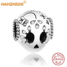 2019 Summer Collection 925 Sterling Silver Sparkling Skull Charm Beads Fits Original Pandora Charm Bracelet DIY Jewelry Making недорого