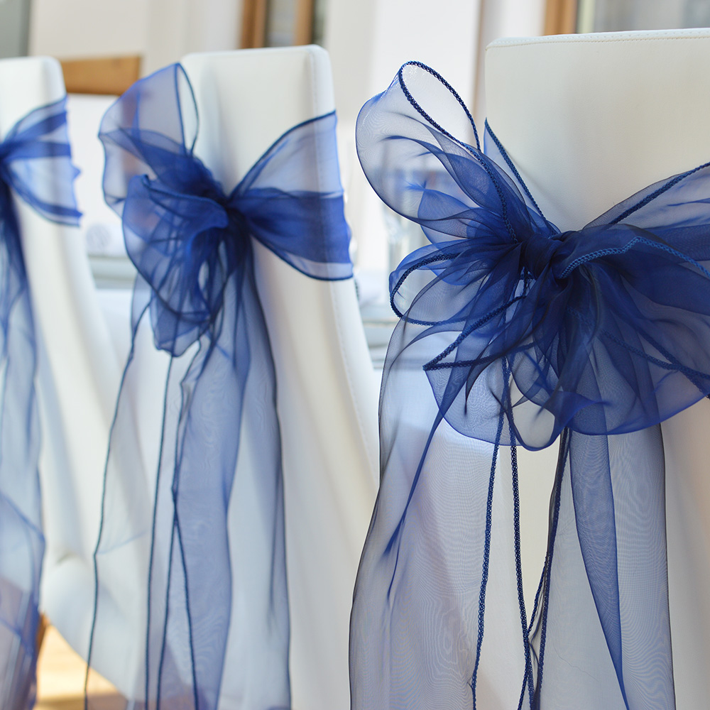 Marcos de la silla del Organza cubierta Bow Sashes boda/Patry ...