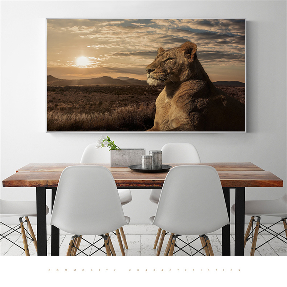 Canvas Prints Prairie Sunset Lion King Canvas Pictures for Living Room Wall Art Oil Painting Vintage Poster