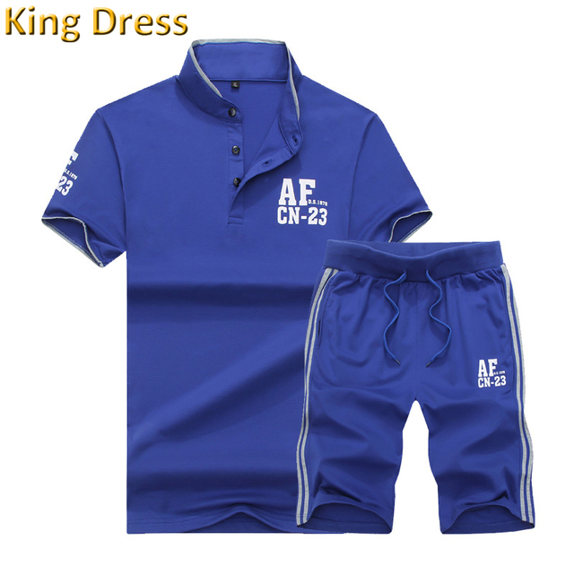 Good Quality Man Tracksuit New Pattern Buttons Blue Cotton Stand Collar Fat Big Size Man Short Sleeve Shorts Polo Shirt Set