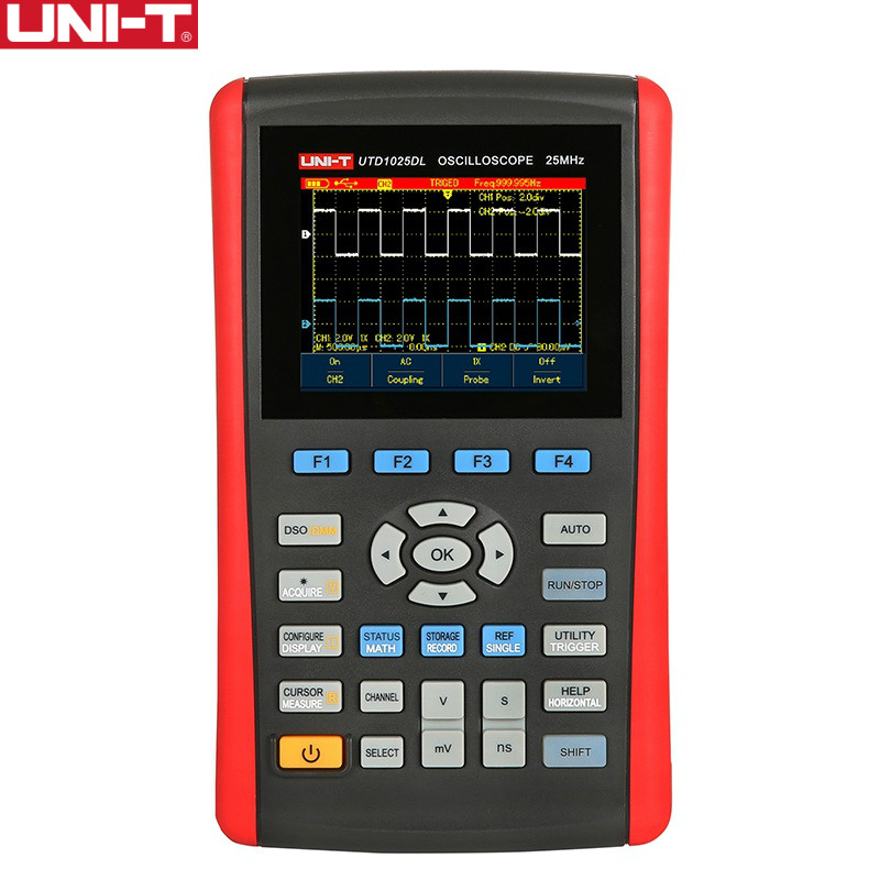 UNI-T UTD1025DL Handheld Digital Storage Oscilloscopes 2CH Scopemeter Scope meter 7 inches widescreen LCD displays USB Interface high accuracy uni t utd2052cex utd2102cex digital storage oscilloscopes 2 channels 100 200mhz 1gs a scopemeter 7 inches lcd