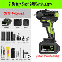 25800Amh Brushless Cordless Electric Wrench Impact Socket Wrench Li Battery Hand Drill Hammer