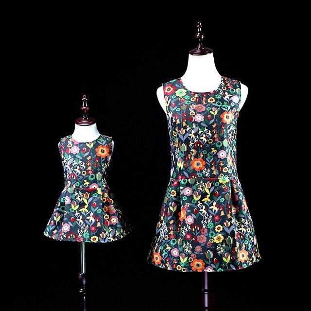 Марка мама и девушки цветочные одежда семья посмотрите платье женщины 3XL clothing девочки 1Y-16Y мать и дочь жилет платья