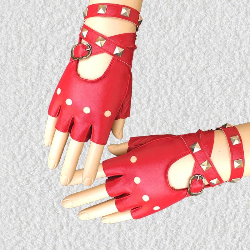 1 Pair Half Finger PU Leather Gloves Rock Punk Style Rivet Fingerless Motorcycle Gloves Best Sale-WT