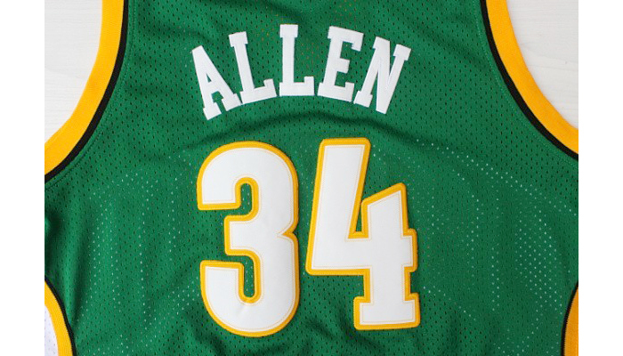 ... Hardwood Classics Seattle 34 Ray Allen Supersonics Jersey Cheap  Throwback Jerseys Top Quality Green Yellow Embroidery ... c7e4fc389