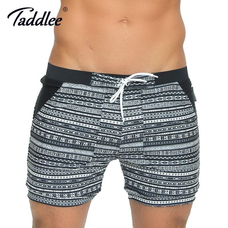 Taddlee Brand largo básico Swimwear hombres Swim Boxer Trunks trajes de baño surf Shorts High Rise más tamaño XXL natación