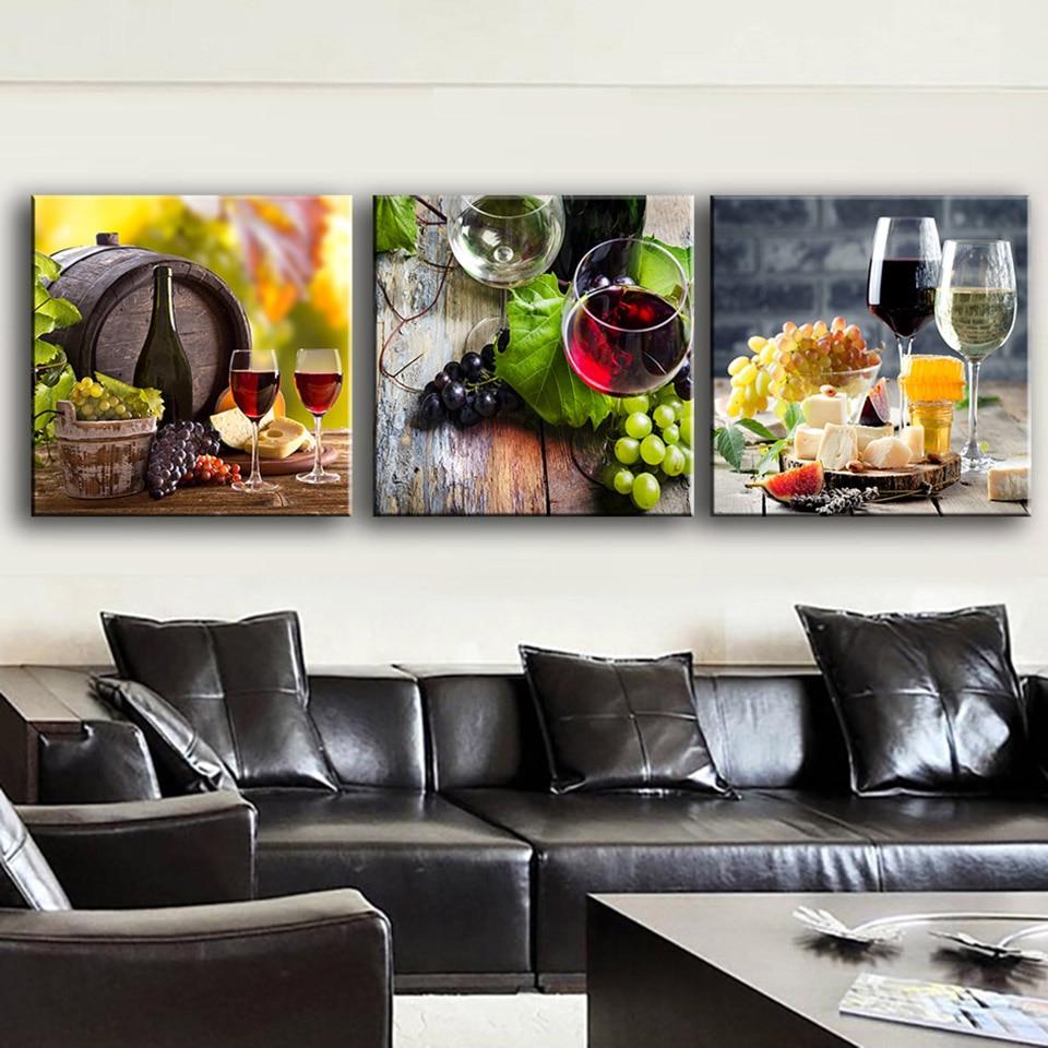Modulare Bild Artwork 3 Stücke Wein Trauben Dessert Gerahmte Gemälde ...