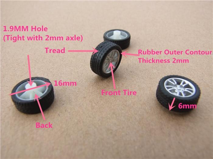 4pcs/lot K405 16mm Diameter Mini Rubber Wheels Four-wheel Drive Car Wheel DIY Toys Parts Free Shipping Russia