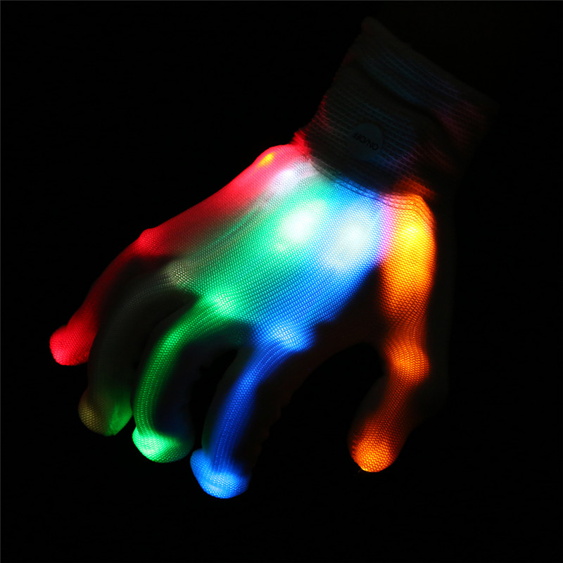1 Pair Colorful LED Luminous Gloves Light-Up Toys 6 Modes Multi-color Red Green Blue LED Lights Cool Flashing Fingertip Glove
