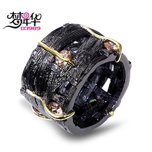 DreamCarnival 1989 Designer Gothic Ring for Women Vintage Hollow Champagne CZ Braided Rolling Engagement Anillos de mujer Argola