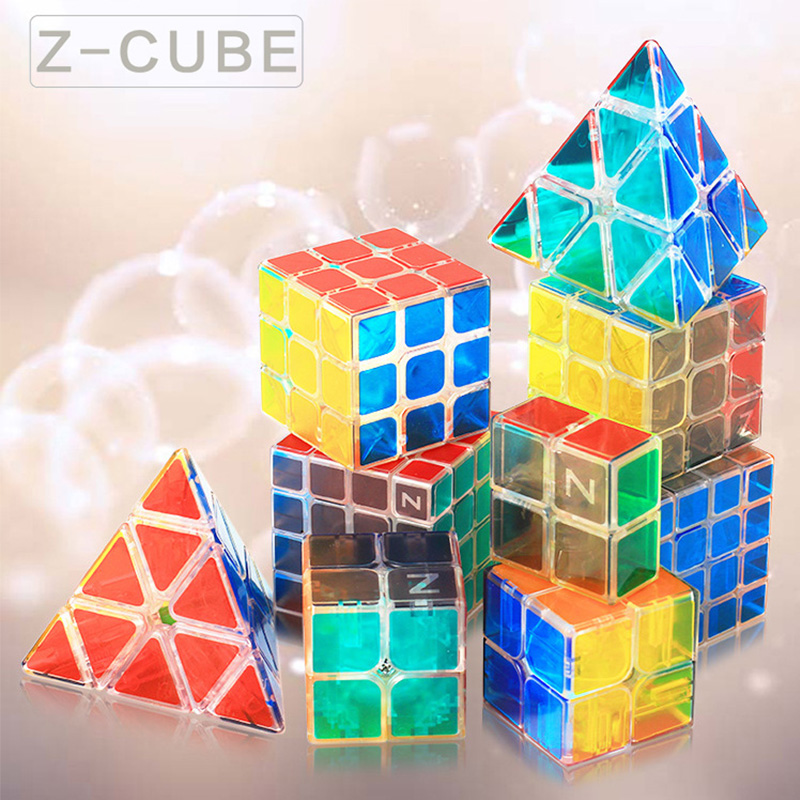 Z-cube New Transparent Speed Magic Cube 3x3x3 Stickerless Cube Puzzle  Pyramid 2x2x2 Lucency Toy For Kids