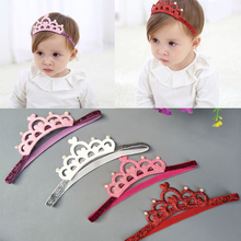 1PC New Fashion Children Girls Elastic Headband Solid Heart Crown with Simulated Pearls Hair Band for Toddlers Accessories