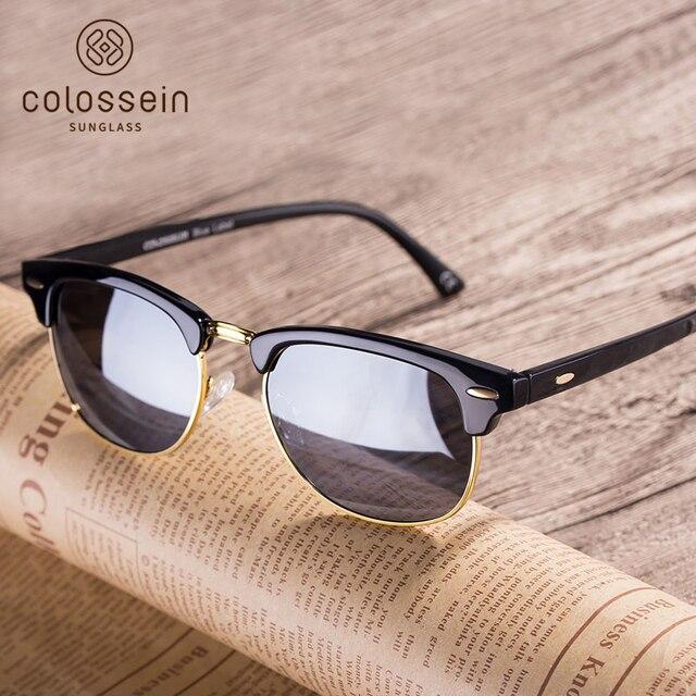 Colossein Retro TAC Polarized  Sunglasses Men Women Oval Vintage Metal Frame Multicolor Round Lens Eyewear