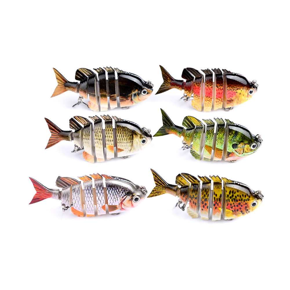 1PC 6 Segments Artificial Fishing Hard Bait 80mm 14g Lifelike Jointed Bait Fishing Lure Wobbler With 8 Hooks For River Lake in Fishing Lures from Sports Entertainment
