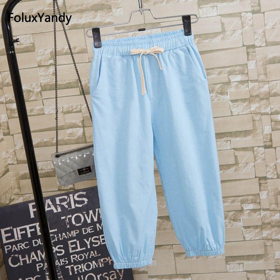 Cotton and Linen   Pants   Women Plus Size 3 4 5 XL Casual Loose Calf-length   Pants     Capris   Trousers QNS26