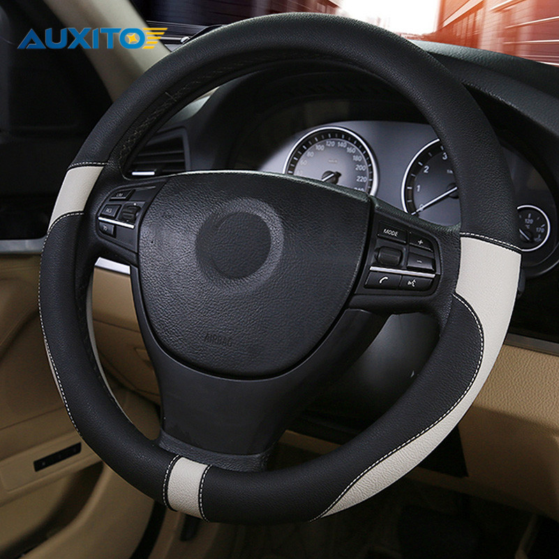 38cm Car Steering Wheel Cover For Skoda Superb Octavia A7 A5 2 Fabia Rapid Yeti Mitsubishi Asx Lancer Outlander Pajero Colt 20pcs 56mm sticker green black car wheel hub center cover caps logo emblem sticker for skoda octavia fabia superb rapid yeti