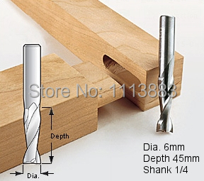 6mm, Upcut Spiral Router Bit, 1/4 Shank, Model 6*45-100 1/4