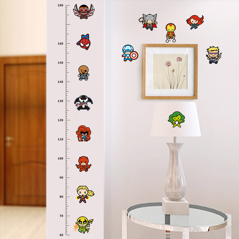 Cartoon Movie Height Measure Wall Stickers For Kids Rooms Avengers Decals Art Baby Nursery